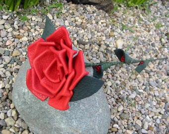 Red leather rose