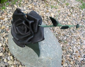 Black leather rose