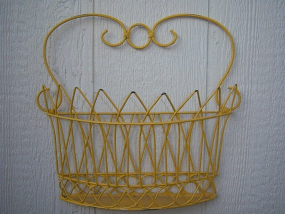 RESERVED 4 BECKY- Vintage Shabby Chic French Country Sunny Yellow Wire Wall Basket