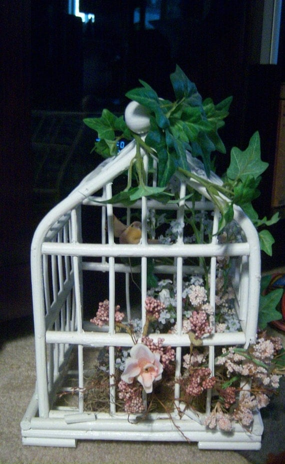 White Wicker BirdCage-Bird Cage-Shabby Chic-French Country-Victorian-Cottage Chic- Any home Decor