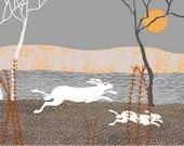 Running Hares, Digital Illustration, giclee Print, Animal print