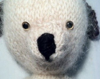Sasha The Creamy White Alpaca Hand Knit Dog Stuffed Toy Animal Plushie