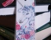 "Unicorn Bookmark ""Ribbons & Roses"" 2x6"