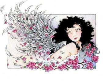 "Angel Art 5x7 Print ""Looking Back"" Fantasy Art"