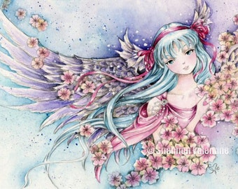 "Anime Angel Art 5x7 Print ""A Gentle Heart"" Fantasy Art"