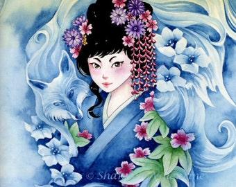 """Fantasy Art Print Japanese """"Kitsune"""""""