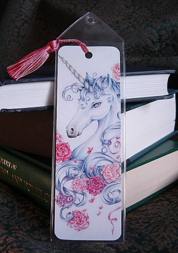 "Unicorn Bookmark ""Ribbons & Roses"" 2x6"