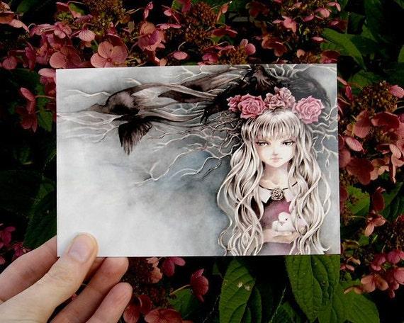 """Postcard 4x6 Fantasy Art Illustration """"Dark Birds"""""""