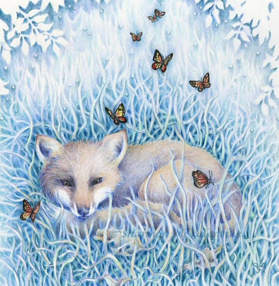 "Animal Art 10x10 Print, Baby Fox with Butterflies ""One Moment"""