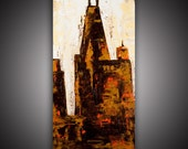"""HUGE 36"""" x 18"""" Original Abstract print and painting Contemporary -The City of Chicago-Textured Painting- Home decor  oil on canvas"""