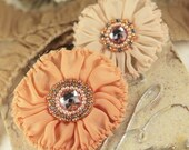 2 Peach Fabric Flowers - Regent Cavendish 548933 - Silk Fabric Flowers with beaded crystal centers -   vintage style shabby frayed