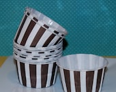 Brown Stripe Candy Cups  Grease Proof  Baking cupcake liners or muffin  Ice cream  dessert treat portion small cups - 24 count