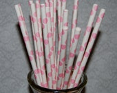 """25 pink polka dot paper drinking straws -  with FREE Blank Paper Flags.  See also - """"Personalized"""" flags option."""