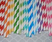 WHOLESALE  striped paper drinking straws.   Bulk savings    600 count box Aardvark brand straws