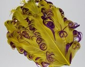 Curly Feather Pad - Two Tone Yellow on Purple FP180 - (1 piece)