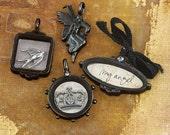 Vintage Trinkets -  554248 - Vintage metal charms - Nature Garden  crown  my angel  birld message word  shadow box  pendants  antique bronze