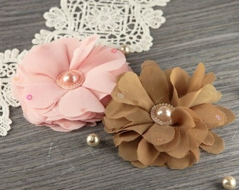 Fabric flowers - Matriarch Coretta  Sheer Silk Flowers with sequin petals and pearl centers  547974