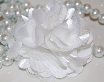 Fabric Flower White - 3'' Satin mesh silk fabric flower  - choose flat back or with hair clip - brooch pin or shoe clip