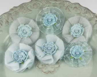 Bronte Blooms - Powder Blue  542870 - Sheer fabric  mesh flower mixed topped mulberry paper with a pearl center