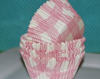 pink cupcake liners (50 ct )- pink gingham plaid cup cake liners, baking cups, muffin cups, cupcake standard size, grease proof