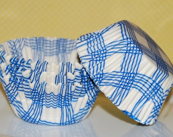 cupcake liners 50 count - blue gingham plaid cup cake liners, baking cups, muffin cups, cupcake standard size,  grease proof