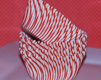 Cupcake liners 50 count - Red  stripe cupcake liners baking cups muffin cups cup cake grease proof standard size