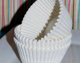 cupcake liners (50) count - white solid cup cake liners  baking cups  muffin cups  cupcake standard size greese proof
