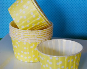 Yellow  Polka Dot Candy Cups - Nut cups -  Baking cupcake liners or muffin cups -  Ice cream cup - dessert cups - (50) count