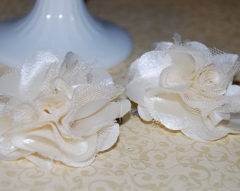 set of 2 -  Cream  - 2.5''  Small Satin mesh silk fabric flower with hair clip