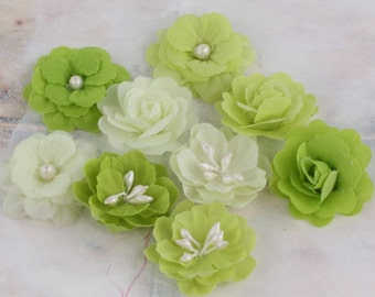 "small 1"" fabric flowers - Lady Godivas Collection -  Limeade 557065 - tiny fabric flowers in varying styles - shades of light green, lime"