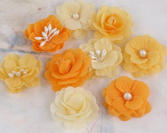 "1"" fabric flowers - Lady Godivas Collection -  Orange Ice 557089 - tiny fabric flowers in varying styles - light orange, peach, orange"