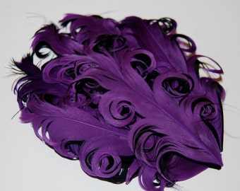 Curly Feather Pad - Two Tone Black and Purple FP101 - (1 pc)