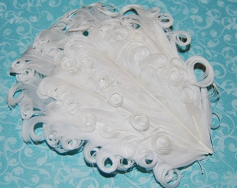 Curly Feather Pad - White FP110 - (1 pc)  Angel wings cherub wedding baby bridal feathers vintage look
