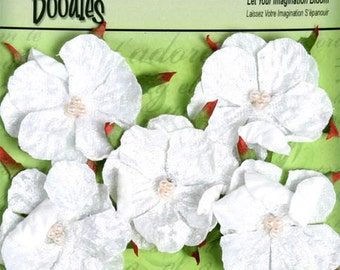 """fabric flowers - Velvet Wild Roses - White 1294-000 -  1.5""""  layered fabric flowers with embellished pearl centers"""