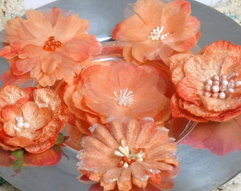 fabric flowers - Chantilly Mixed Blooms - Sienna Orange 1279-212  - layered fabric flowers with embellished centers