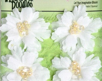 "fabric flowers - Beaded Peonies - White 1297-000  -  2"" Layered fabric flowers with beaded centers - 4 pieces per pack"