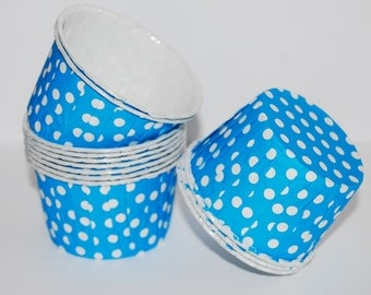 Bright Blue  polka dot Candy Cups Nut cups  Baking cupcake liners  muffin cups  Ice cream  treat dessert portion cup - 50 count