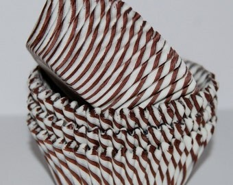Cupcake liners 50 count - Brown  stripe cupcake liners baking cups muffin cups cup cake grease proof standard size