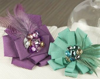 Fabric Flowers - Gemini Collection - Diva 553173 -  ribbon flowers accented with feathers and jewel centers - purple mint green aqua