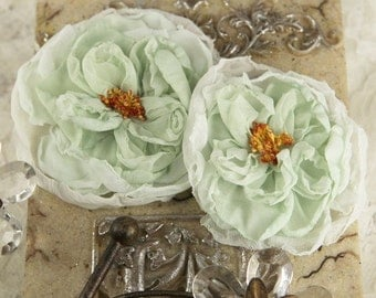 Parfait Collection - Wintergreen 547196 -  2 Sheer silk fabric flowers with stamen  - light green