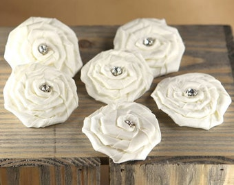 Fabric Flowers - Allure Aurora 553104 - Coiled satin fabric flowers with a crystal center - white
