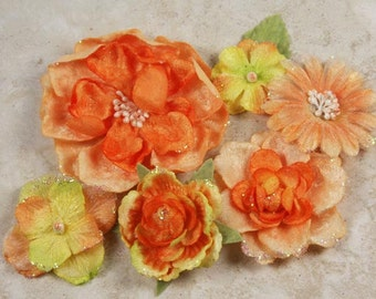 Prima Fabric flowers -Symphony Blend Collection Allegro Orange 537821 -  Brightly colored layered fabric flowers with embellished centers