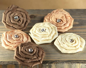 Fabric Flowers - Allure Mocha 553111 - Coiled satin fabric flowers with a crystal center - ivory cream tan brown