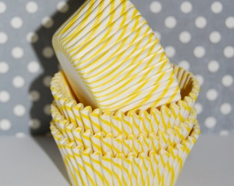 Cupcake liners  50 count - Yellow stripe  cupcake liners baking cups  muffin cups  cup cake grease proof standard size