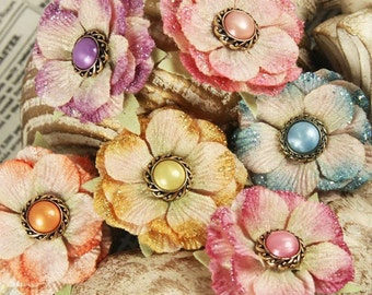 Ameruse Duchess Mix 539412 - Soft crushed velvet fabric flowers with pearl centers  pastel mixed colors as shown in photo