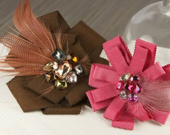 Feather Ribbon Fabric Flowers - Gemini Borgia 553203 -  ribbon flowers accented with feathers and jewel centers - brown raspberry pink