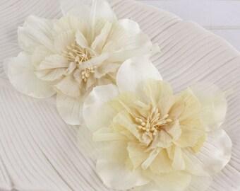 Fabric Flowers - Namazzi Ivory 557218 - Large layered radiant fabric flowers  with embellished centers