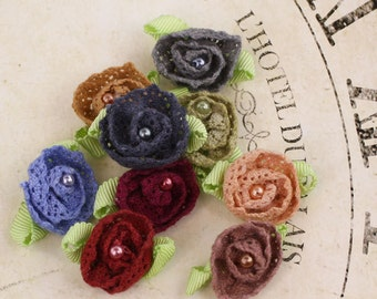 Fabric Flowers - Harmonie Vintage 556884 - Tiny fabric lace flowers with a pearl center