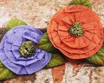 Fairy Rings - Coral Reef 532789  - large layered pleated  poise flowers with embellished centers - purple orange