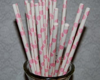 """25 pink polka dot paper drinking straws -  with FREE DIY Flag Template.  See also - """"Personalized"""" flags option."""